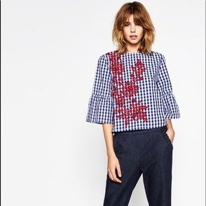 Blue and White Gingham blouse